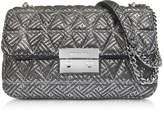 Michael Kors Silver Quilted Leather Sloan Large Chain Shoulder Bag