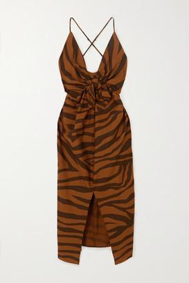 Mara Hoffman Net Sustain Lolita Knotted Tiger-print Organic Cotton Maxi Dress - Brown