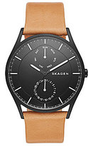 Skagen Holst Stainless Steel Multifunction Leather Strap Watch