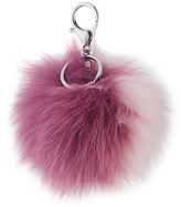 Adrienne Landau Two-Tone Fox Fur Pompom/Charm for Handbag, Purple/Pink