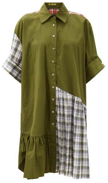 Marques Almeida Ruffle-hem Upcycled Patchwork Cotton Shirt Dress - Khaki Multi