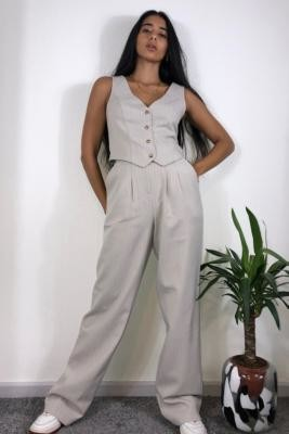 Urban Renewal Vintage Urban Outfitters Archive Beige Pinstripe Puddle Trousers - Beige XS at Urban Outfitters