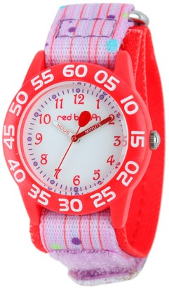 Girl' Red Balloon Red Platic Time Teacher Watch - Pink