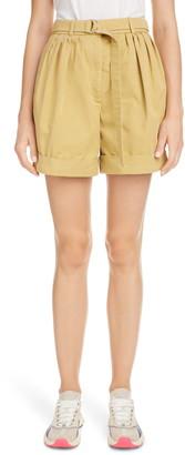Acne Studios Rowanne Belted Cotton Twill Shorts