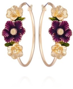 Nanette Lepore Winter Garden Flower Hoop Earrings