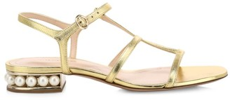 Nicholas Kirkwood Casati Faux Pearl Metallic Leather T-Strap Sandals