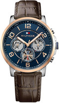 Tommy Hilfiger Men's Sophisticated Sport Brown Leather Strap Watch 44mm 1791290