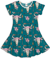 Urban Smalls Blue & White Floral Skull A-Line Dress - Toddler & Girls