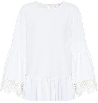 See By Chloã© Lace-trimmed bell sleeve top