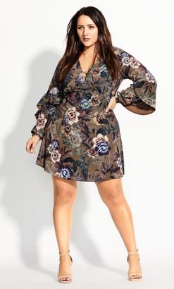 City Chic Highland Floral Dress - chestnut