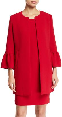 Albert Nipon Two-Piece Trumpet-Sleeve Coat & Mini Dress Set