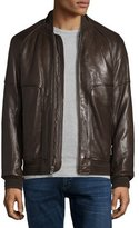 Andrew Marc Hughes Leather Baseball Jacket w/Removable Fur Lining, Espresso