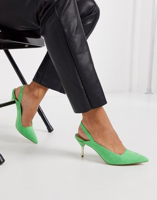 ASOS DESIGN Sascha slingback kitten heels in green