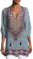 Tolani Elianna 3/4-Sleeve Printed Silk Tunic, Navy