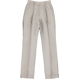 Marc Jacobs Silver Silk Trousers