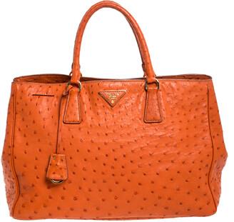 Prada Orange Ostrich Leather Struzzo Executive Tote