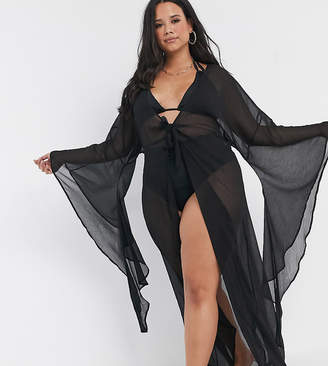 Asos DESIGN curve glam maxi beach kimono with exaggerated sleeves-Black