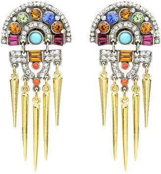 Ben-Amun Crystal Statement Spiked Clip-On Drop Earrings
