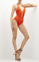 Herve Leger Michelli Twist Detail Bandage One-Piece Swimsuit
