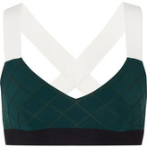 NO KA 'OI No Ka'Oi - Ola Color-block Quilted Stretch-jersey Sports Bra - Emerald