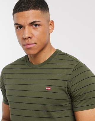 Levi's the original stripe t-shirt small batwing patch logo in olive night/ mineral bl-Green