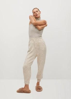 MANGO Stand collar T-shirt beige - S - Women