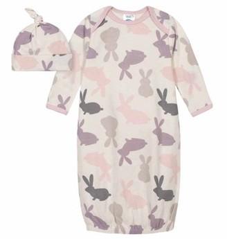 Gerber Baby Girls Bunny Gown & Cap, 2-Piece Outfit Set