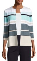 Misook 3/4-Sleeve Striped Textured Open Jacket, Multi, Plus Size