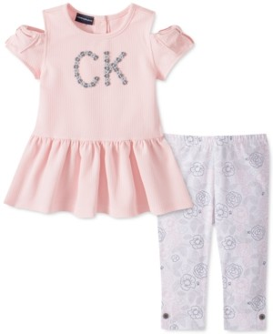 Calvin Klein Toddler Girls 2-Pc. Cold-Shoulder Top & Floral Leggings Set
