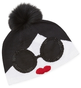 Alice + Olivia Stace Face Fur Pom Beanie