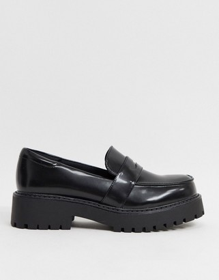 Monki June chunky faux leather loafer in black