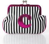 Melie Bianco White Black Pink Leather Striped Small C Monogram Handbag