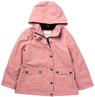 Urban Republic Hooded Faux Shearling Lined Rain Coat (Big Girls)