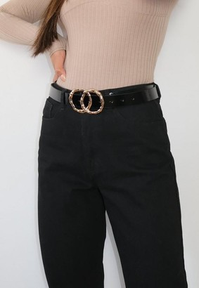 Missguided Black Patent Hammered Double Ring Hip Belt