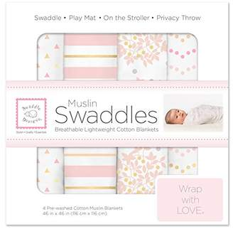 Swaddle Designs Cotton Muslin Swaddle Blankets, Set of 4, Heavenly Floral Pink