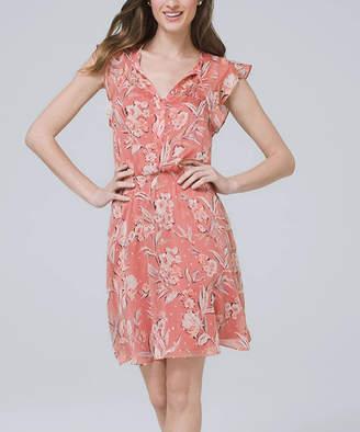 White House Black Market Women's Casual Dresses Adobe - Adobe & Pale Peach Flutter-Sleeve Blouson Dress - Women & Juniors