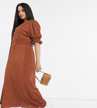 ASOS DESIGN Curve button through maxi tea dress with shirred waist in polka dot