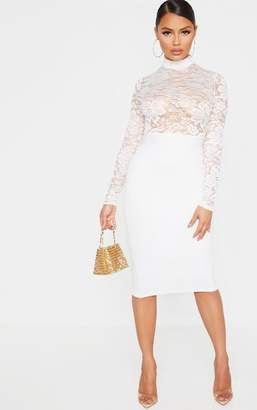 PrettyLittleThing Petite Cream Lace High Neck Midi Dress