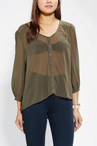 Urban Outfitters Ecote Sheer Chiffon V-Neck Blouse
