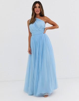 Asos Design DESIGN one shoulder tulle maxi dress-Blue