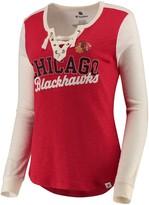 Women's Fanatics Branded Red/White Chicago Blackhawks True Classics Lace-Up Long Sleeve T-Shirt