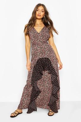 boohoo Woven Plunge Mixed Print Maxi Dress