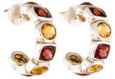 David Yurman Citrine & Garnet Chiclet Hoop Earrings
