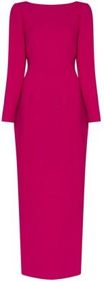 Rebecca De Ravenel Fitted Crepe Long Dress