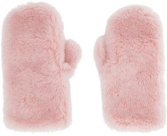 Yves Salomon Pink Wool Flap Mittens