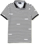 Armani Exchange Armani Jeans Stripe Logo Slim-Fit Short-Sleeve Polo Shirt