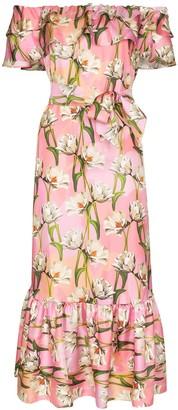 Borgo de Nor floral print off-the-shoulder midi dress