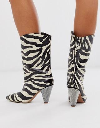 Asos Design DESIGN Experiment embellished pull on boots in zebra print