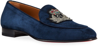 Christian Louboutin Men's Crest on the Nile Suede Red Sole Loafers