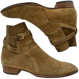 Saint Laurent Wyatt Jodphur Beige Suede Boots